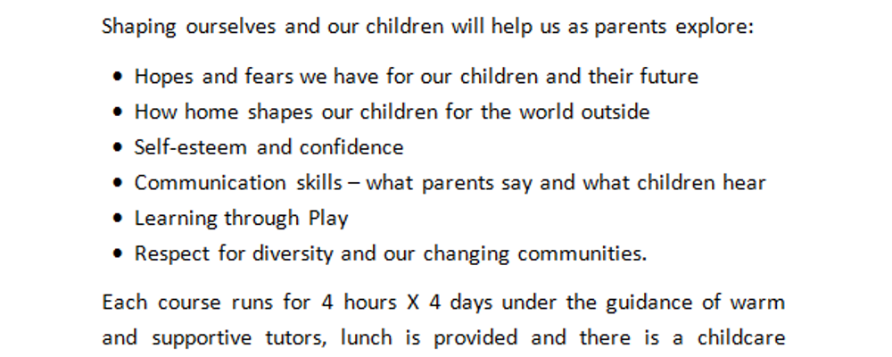 ETHOS - Shaping Ourselves & Our Children  4 week programme