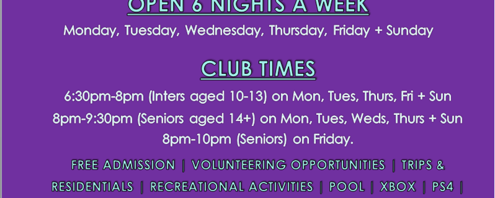 Lenamore Youth Club Open 6 Nights per week