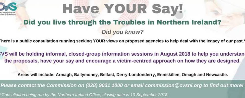 CVS 'Addressing the Legacy of Northern Ireland's Past' - Public Consultation's in August 2018